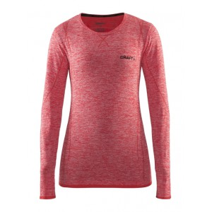Dámské triko Craft Active Comfort dl.rukáv červená melír