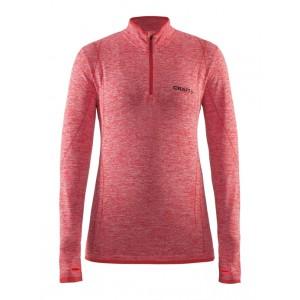 Dámské triko Craft Active comfort zip dl.rukáv červená melír
