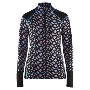 Dámské triko Craft Nordic Wool Twisted Zip černá vzor