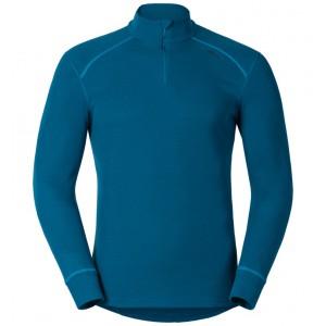 Pánské triko Odlo Warm se zipem modrá petrol