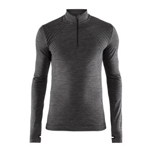 Pánské triko Craft Fuseknit Comfort Zip tmavě šedá