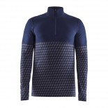 Pánské triko Craft Merino 240 se zipem modrá vzor