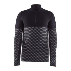 Pánské triko Craft Merino 240 se zipem černá vzor