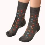 Dětské ponožky Moira TG 900 šedá vzor kytička