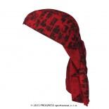 Trojcípý šátek Progress s potiskem šedá vzor Červená Cihla