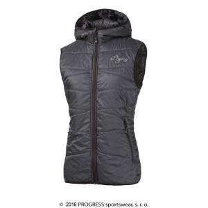 Dámská vesta Progress Miri s kapucí šedá antracit