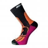 Ponožky Progress Merino černá s oranžovou
