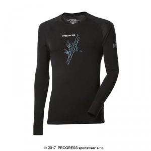 Pánské triko Progress Bamboo dl.rukáv černá