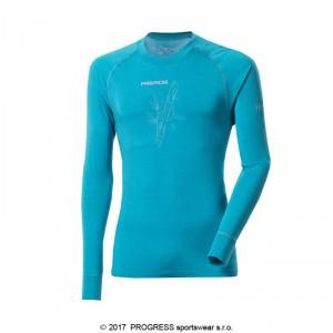 Pánské triko Progress Bamboo dl.rukáv modrá tyrkysová