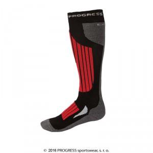 Podkolenky Progress Ski Bamboo černá s červenou