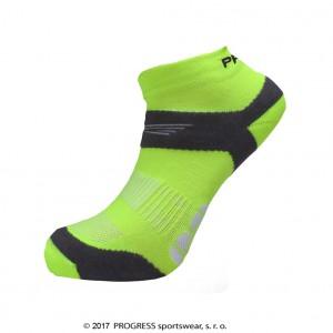 Ponožky Progress Running Sox žlutá reflexní se šedou