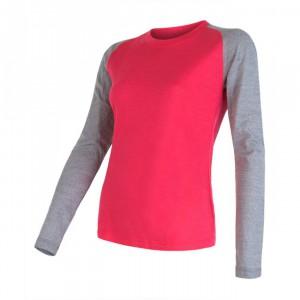 Dámské triko Sensor Merino Active PT Logo dl.rukáv růžová se šedou