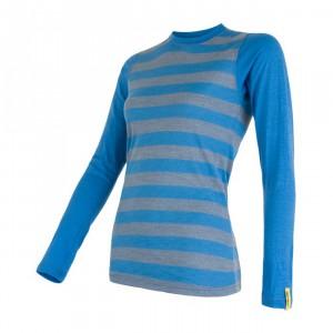 Dámské triko Sensor Merino Active dl.rukáv modrá pruhy