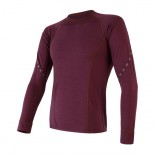 Pánské triko Sensor Merino Air dl.rukáv červená vínová