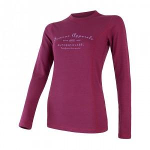 Dámské triko Sensor Merino DF Label dl.rukáv fialová lilla