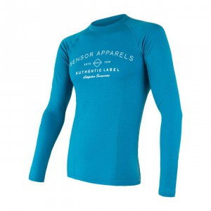 Pánské triko Sensor Merino DF Label dl.rukáv modrá