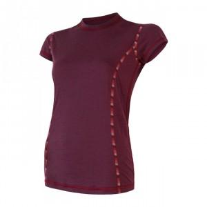 Dámské triko Sensor Merino Air kr.rukáv červená vínová