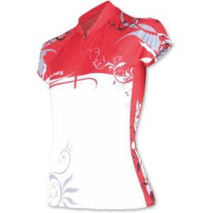 Dámský cyklodres Sensor Flowers bílá s červenou
