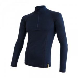 Pánské triko Sensor Merino DF Deep blue dl.rukáv zip tmavě modrá